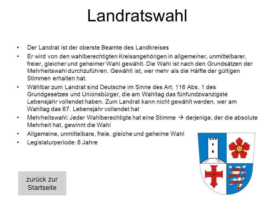 Landratswahl Der Landrat ist der oberste Beamte des Landkreises Er wird von den wahlberechtigten Kreisangehörigen in allgemeiner, unmittelbarer, freier, gleicher und geheimer Wahl gewählt.