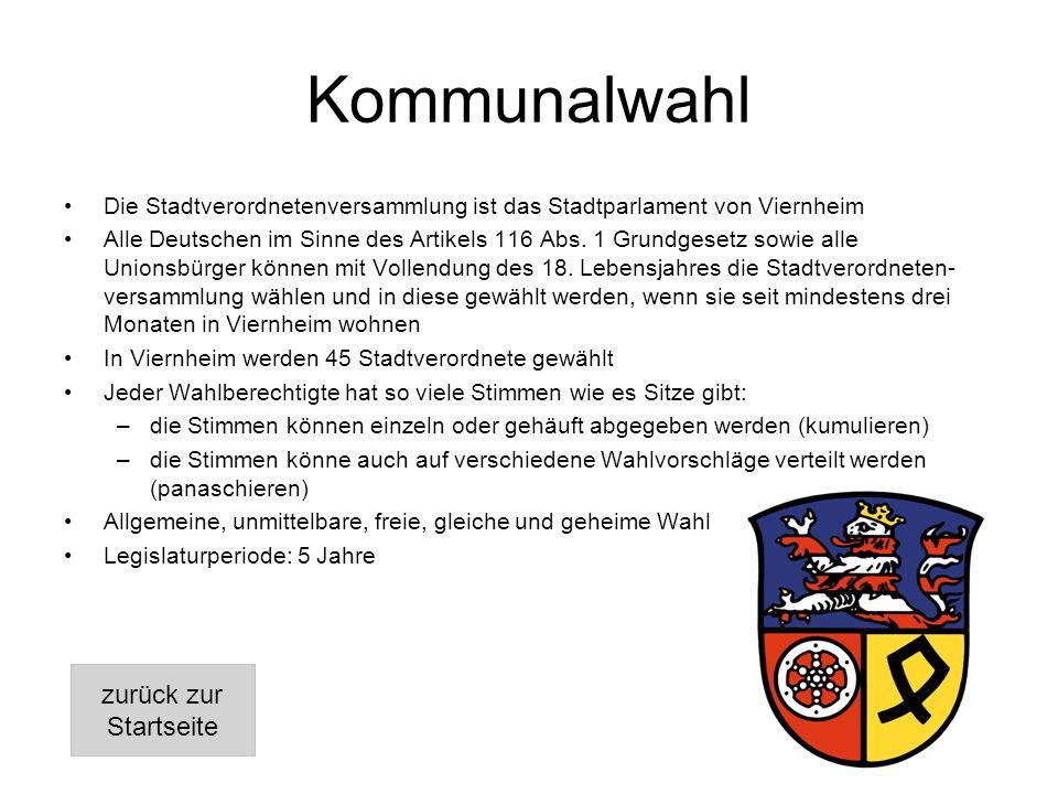 Kommunalwahl Die Stadtverordnetenversammlung ist das Stadtparlament von Viernheim Alle Deutschen im Sinne des Artikels 116 Abs.