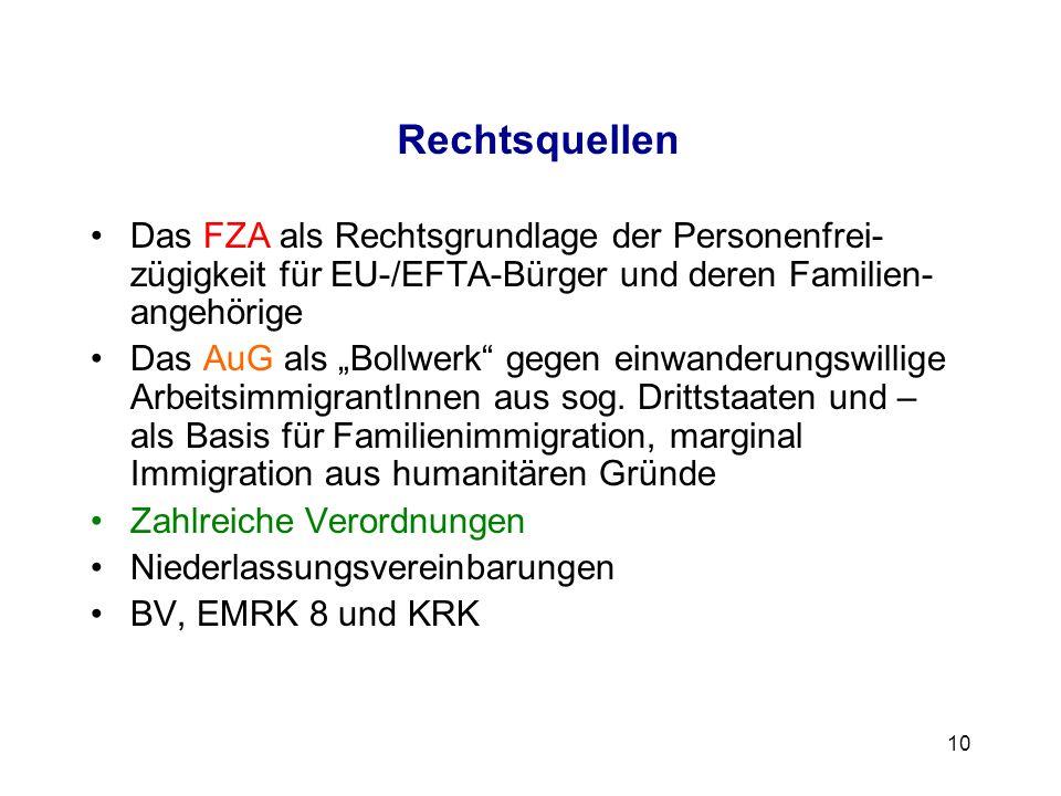 10 Rechtsquellen Das FZA als Rechtsgrundlage der Personenfrei- zügigkeit für EU-/EFTA-Bürger und deren Familien- angehörige Das AuG als Bollwerk gegen