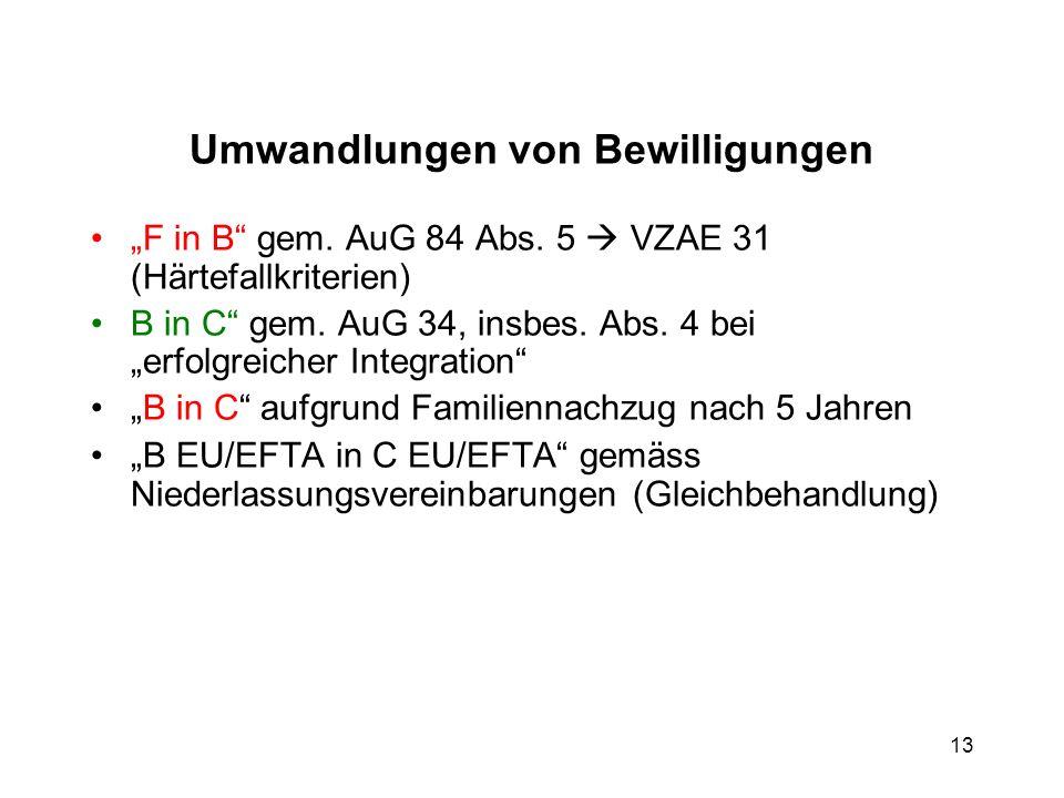 Umwandlungen von Bewilligungen F in B gem. AuG 84 Abs. 5 VZAE 31 (Härtefallkriterien) B in C gem. AuG 34, insbes. Abs. 4 bei erfolgreicher Integration