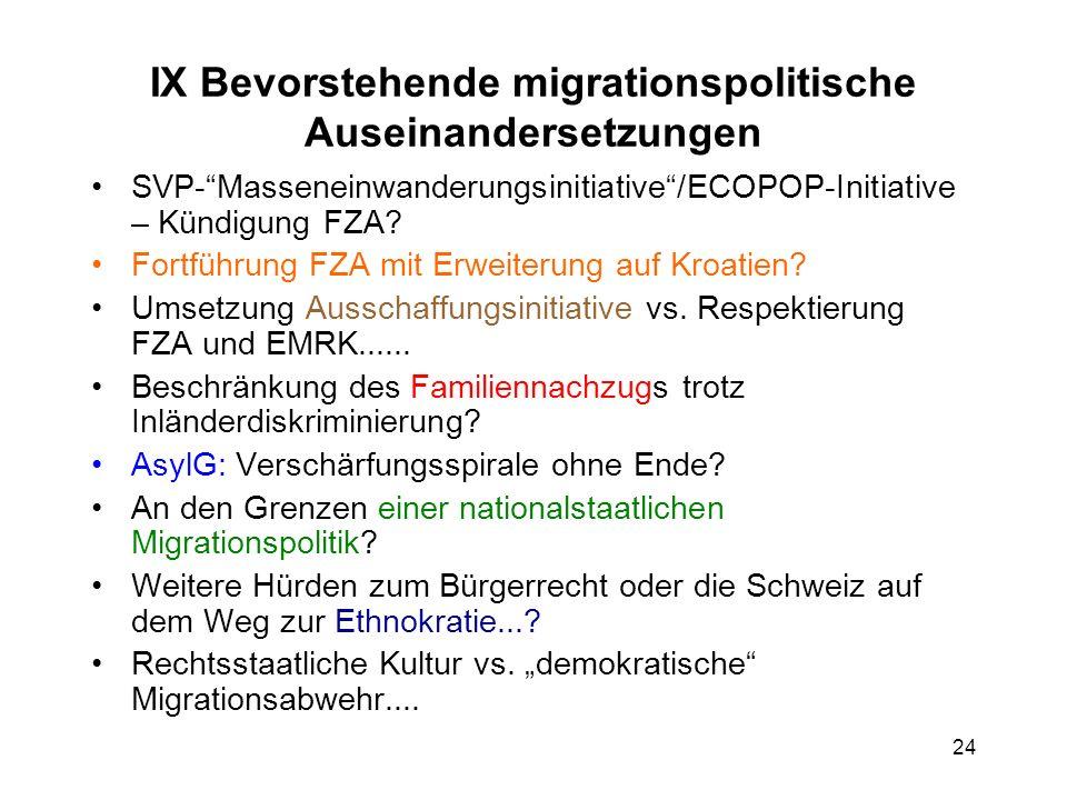 IX Bevorstehende migrationspolitische Auseinandersetzungen SVP-Masseneinwanderungsinitiative/ECOPOP-Initiative – Kündigung FZA? Fortführung FZA mit Er