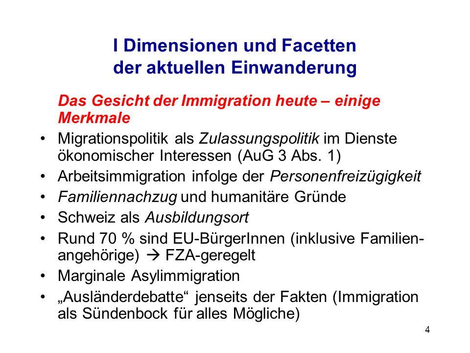 4 I Dimensionen und Facetten der aktuellen Einwanderung Das Gesicht der Immigration heute – einige Merkmale Migrationspolitik als Zulassungspolitik im