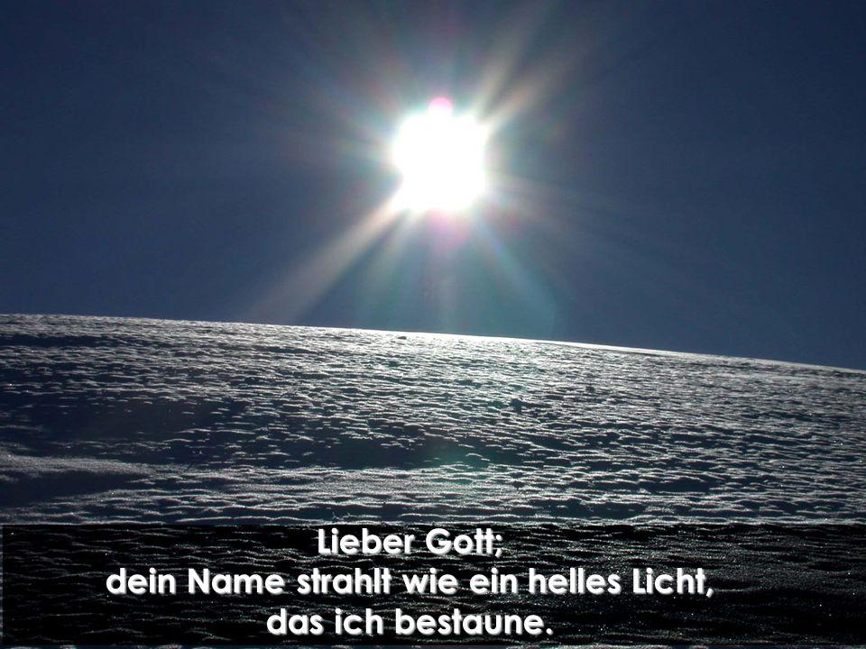Lieber Gott; dein Name strahlt wie ein helles Licht, das ich bestaune.