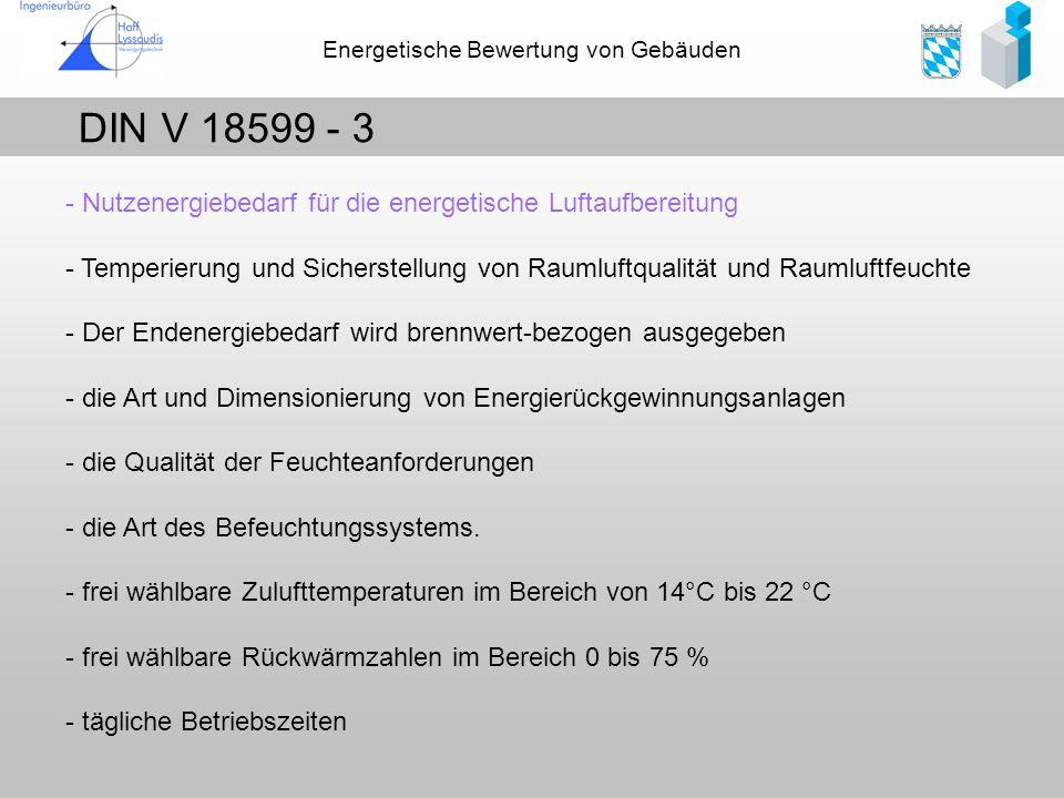 Energetische Bewertung von Gebäuden DIN V 18599 - 3 - Nutzenergiebedarf für die energetische Luftaufbereitung - Temperierung und Sicherstellung von Ra