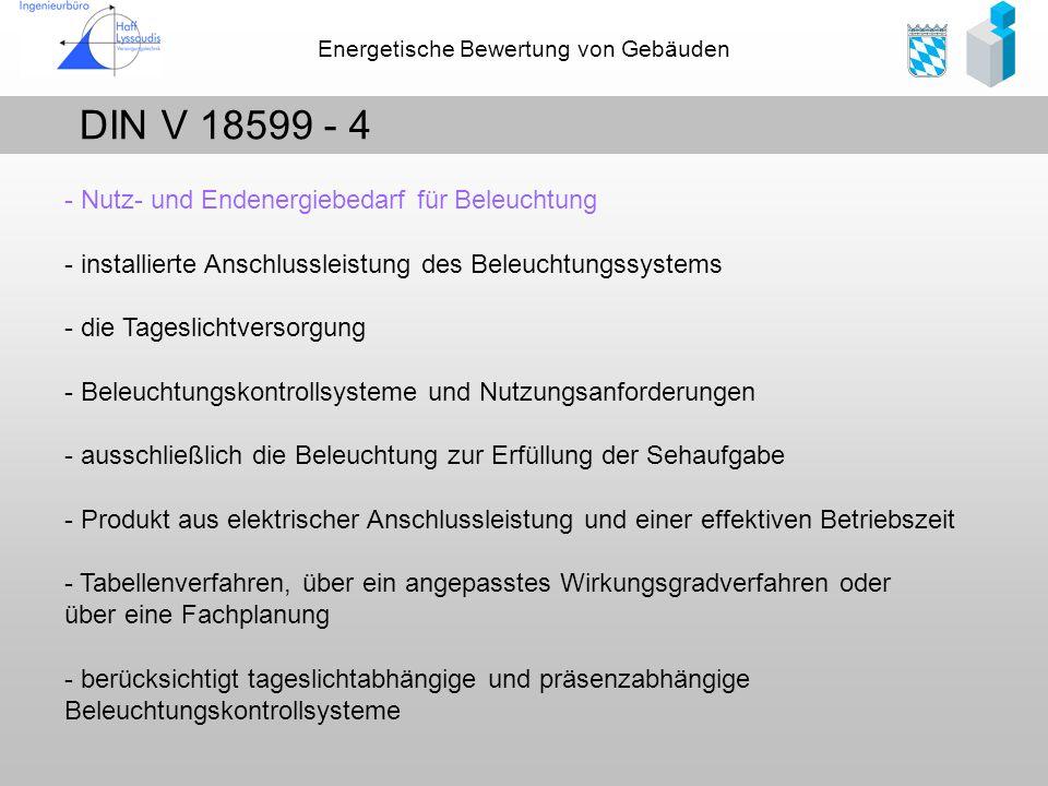 Energetische Bewertung von Gebäuden DIN V 18599 - 4 - Nutz- und Endenergiebedarf für Beleuchtung - installierte Anschlussleistung des Beleuchtungssyst