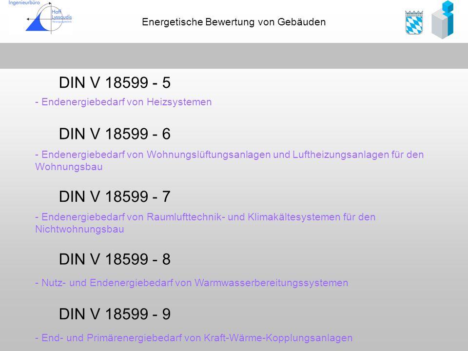 Energetische Bewertung von Gebäuden DIN V 18599 - 5 - Endenergiebedarf von Heizsystemen DIN V 18599 - 6 - Endenergiebedarf von Wohnungslüftungsanlagen