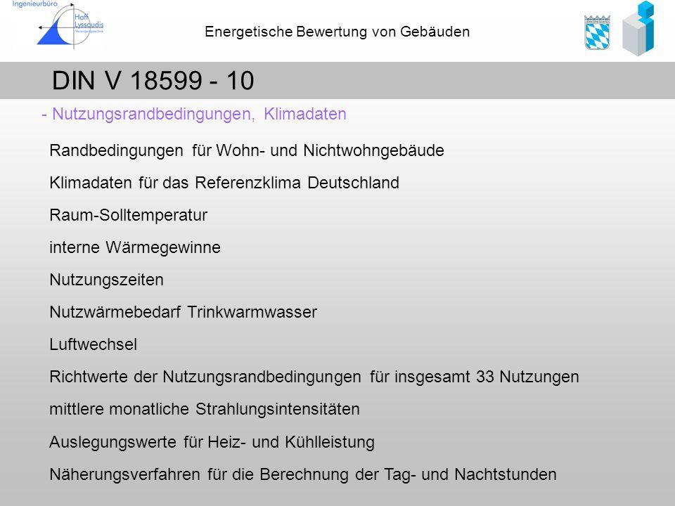 Energetische Bewertung von Gebäuden DIN V 18599 - 10 - Nutzungsrandbedingungen, Klimadaten Randbedingungen für Wohn- und Nichtwohngebäude Klimadaten f