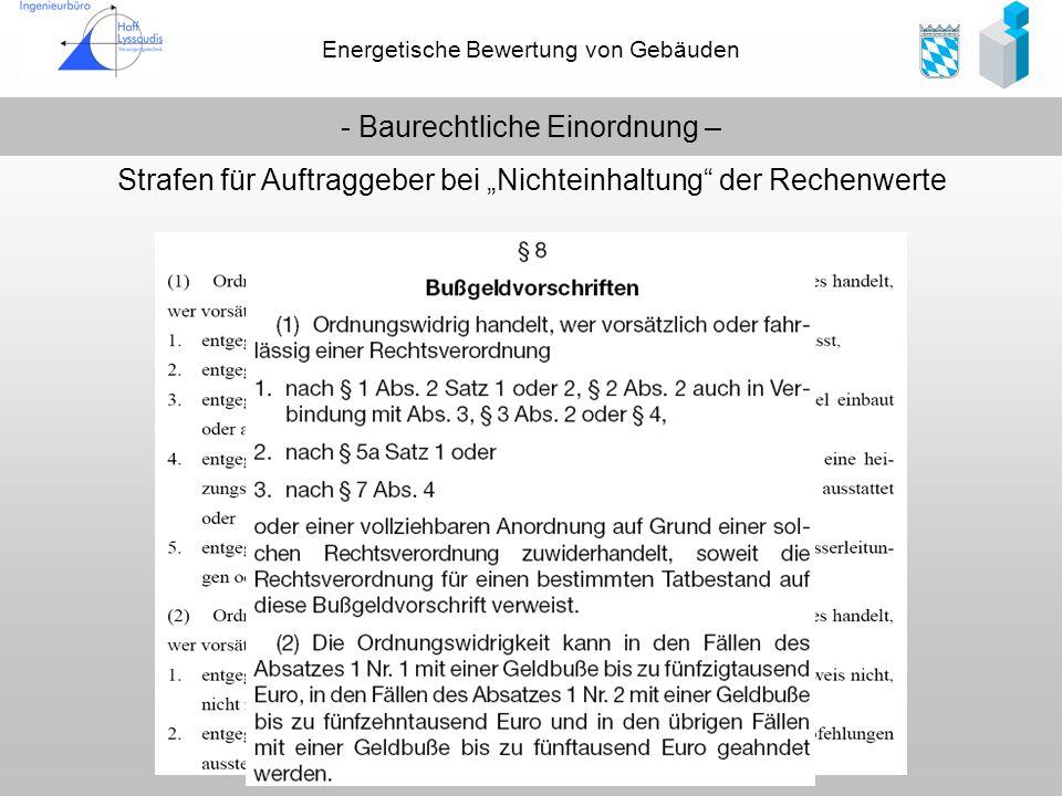 Energetische Bewertung von Gebäuden - Baurechtliche Einordnung – Strafen für Auftraggeber bei Nichteinhaltung der Rechenwerte