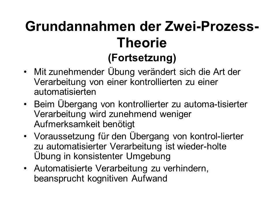 Grundannahmen der Zwei-Prozess- Theorie (nach Kluwe & Haider, 1995) Zwei qualitativ unterschiedliche Arten der Informationsverarbeitung Automatische V