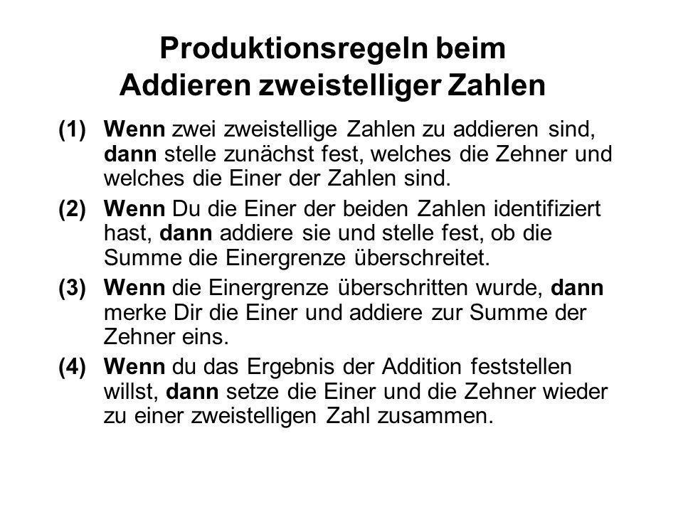 Produktionsregeln und Operatoren Kognitive Fertigkeiten setzen sich aus Produktionsregeln zusammen Produktionsregeln sind Beschreibungen der Vorgehens
