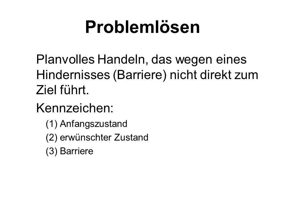 Problem Dörner (1979) Ein Individuum steht einem Problem gegenüber, wenn es sich in einem inneren oder äußeren Zustand befindet, den es aus irgendwelc