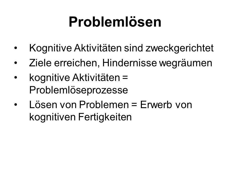 Problemlösen Planvolles Handeln, das wegen eines Hindernisses (Barriere) nicht direkt zum Ziel führt. Kennzeichen: (1)Anfangszustand (2)erwünschter Zu