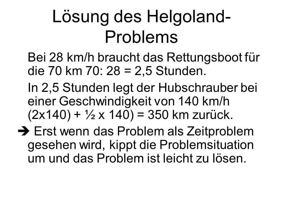 Helgoland-Problem (Forts.) Der Pilot des Hubschraubers versucht am Abend herauszufinden, wieviel km er zurückgelegt hat. Folgende Informationen hat er
