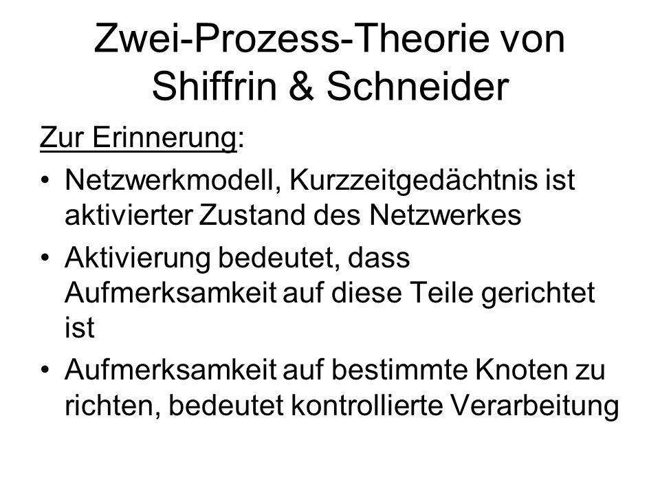 2.Erwerb von kognitiven Fertigkeiten 1.Zwei-Prozess-Theorie 2.ACT-Modell von Anderson