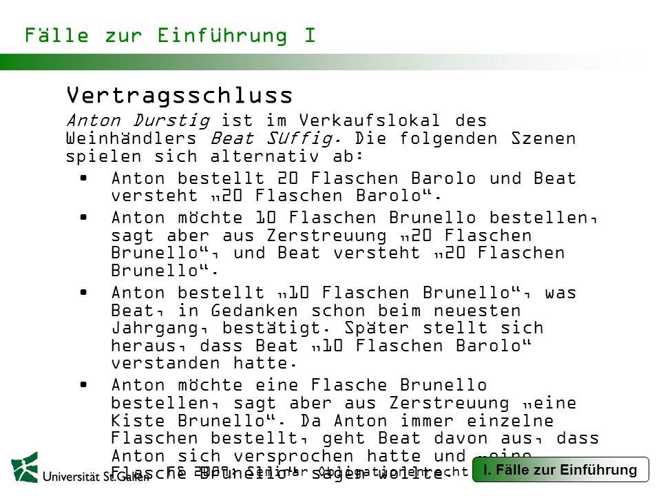 FS 2009: Seminar Obligationenrecht Fälle zur Einführung I Vertragsschluss Anton Durstig ist im Verkaufslokal des Weinhändlers Beat Süffig.