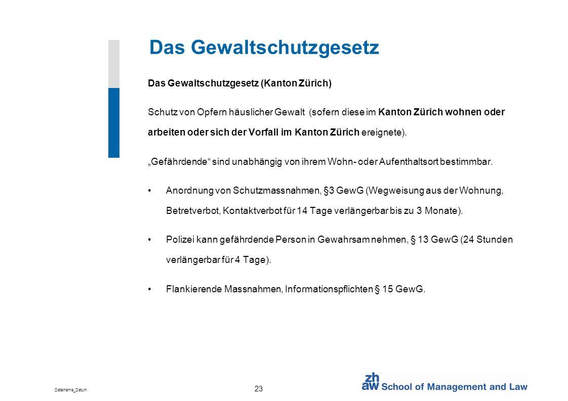 Dateiname_Datum 23 Das Gewaltschutzgesetz Das Gewaltschutzgesetz (Kanton Zürich) Schutz von Opfern häuslicher Gewalt (sofern diese im Kanton Zürich wo