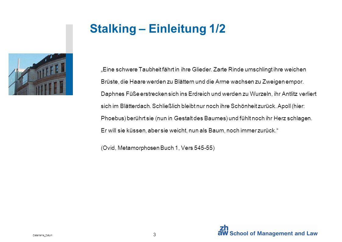 Dateiname_Datum 3 Stalking – Einleitung 1/2 Eine schwere Taubheit fährt in ihre Glieder. Zarte Rinde umschlingt ihre weichen Brüste, die Haare werden