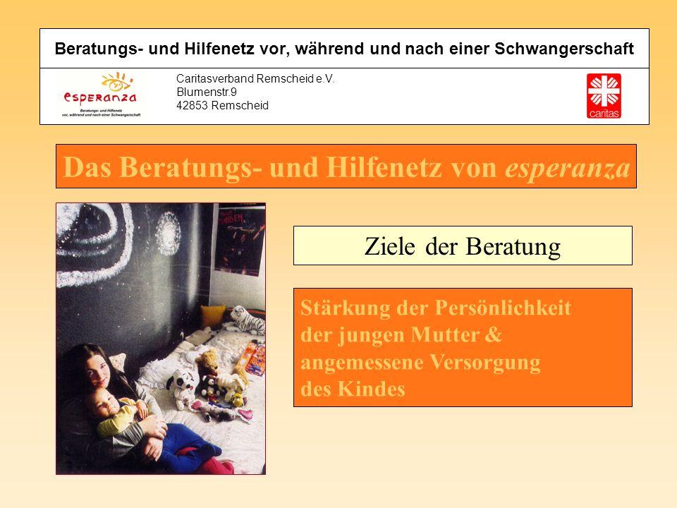 Caritasverband Remscheid e.V. Blumenstr.9 42853 Remscheid Das Beratungs- und Hilfenetz von esperanza Ziele der Beratung Stärkung der Persönlichkeit de