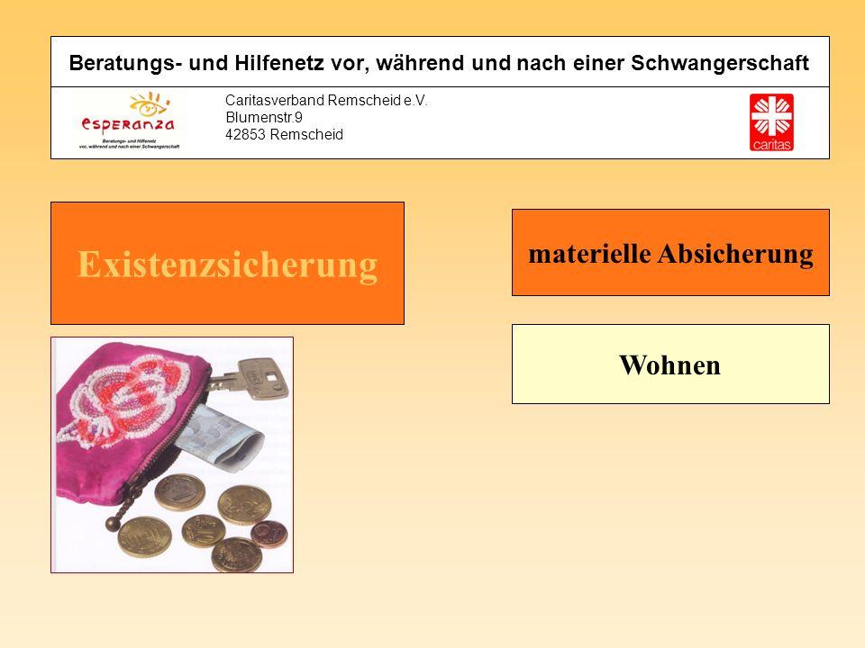 Caritasverband Remscheid e.V. Blumenstr.9 42853 Remscheid materielle Absicherung Wohnen Beratungs- und Hilfenetz vor, während und nach einer Schwanger