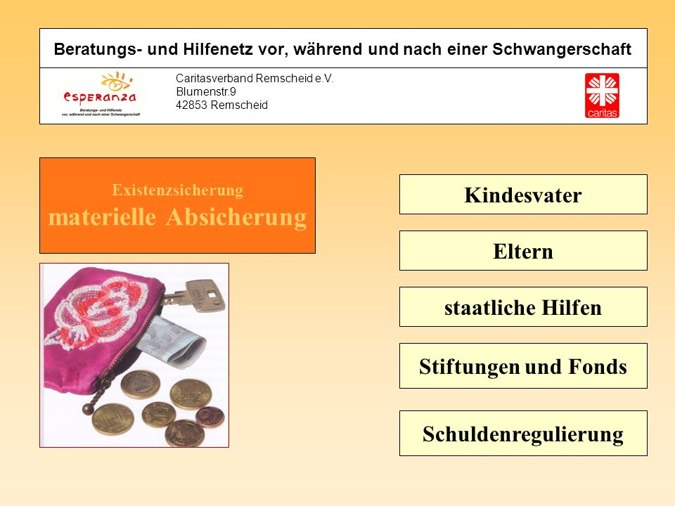 Caritasverband Remscheid e.V. Blumenstr.9 42853 Remscheid Kindesvater Eltern staatliche Hilfen Stiftungen und Fonds Schuldenregulierung Beratungs- und