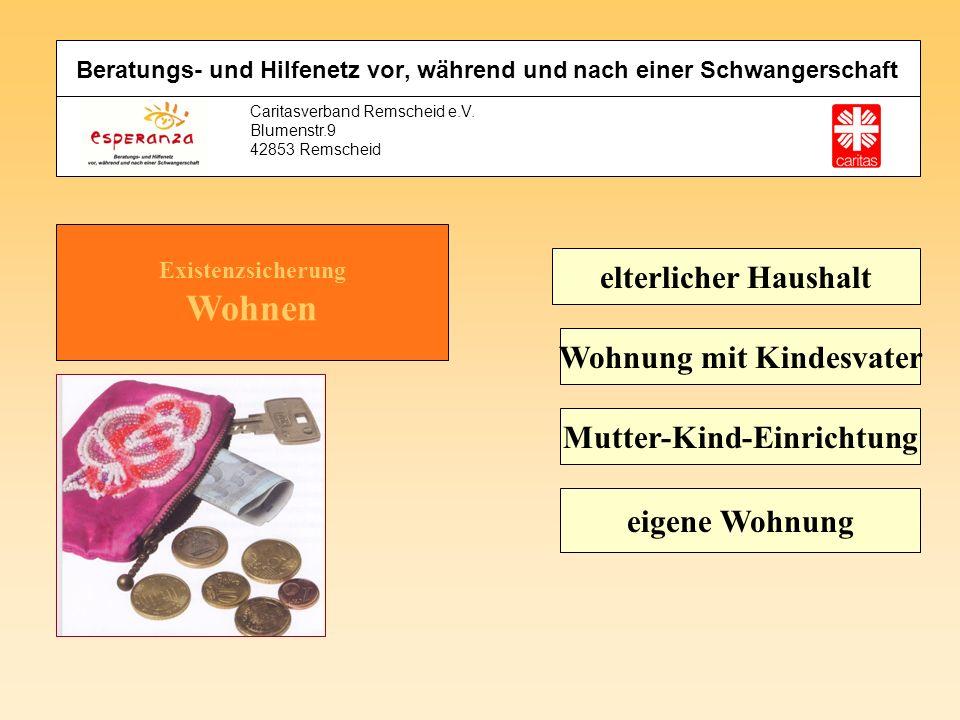 Caritasverband Remscheid e.V. Blumenstr.9 42853 Remscheid Existenzsicherung Wohnen elterlicher Haushalt Wohnung mit Kindesvater Mutter-Kind-Einrichtun
