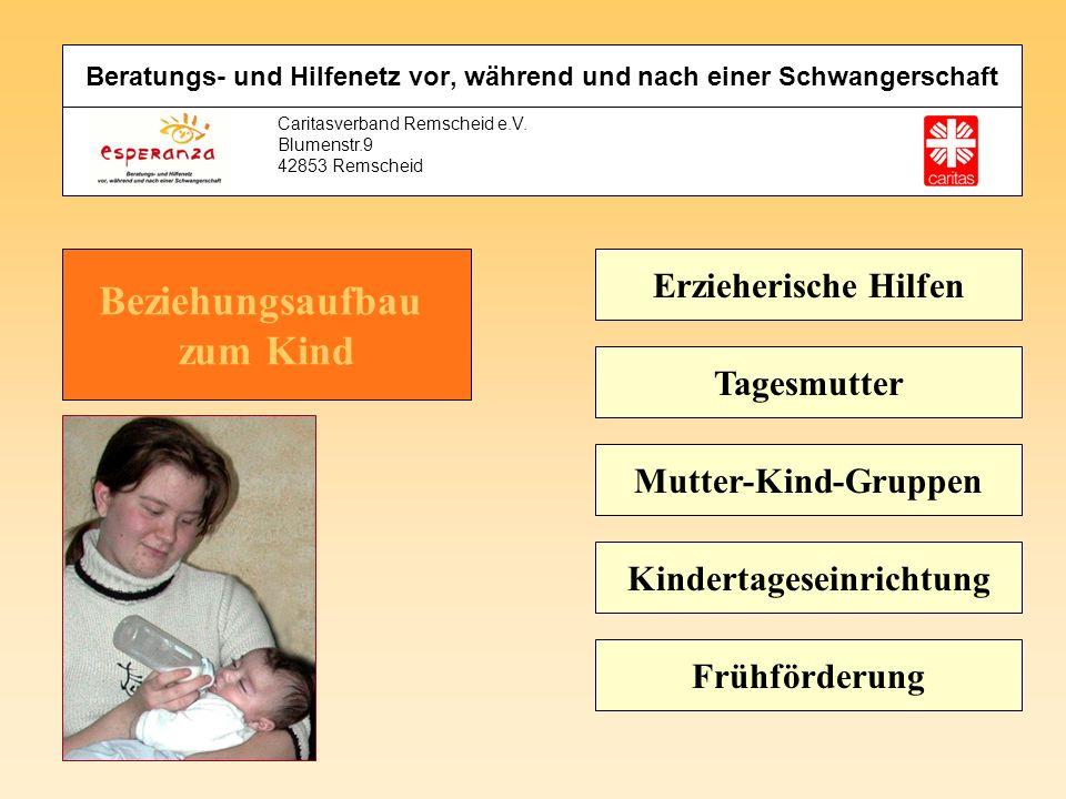Caritasverband Remscheid e.V. Blumenstr.9 42853 Remscheid Erzieherische Hilfen Tagesmutter Mutter-Kind-Gruppen Kindertageseinrichtung Frühförderung Be
