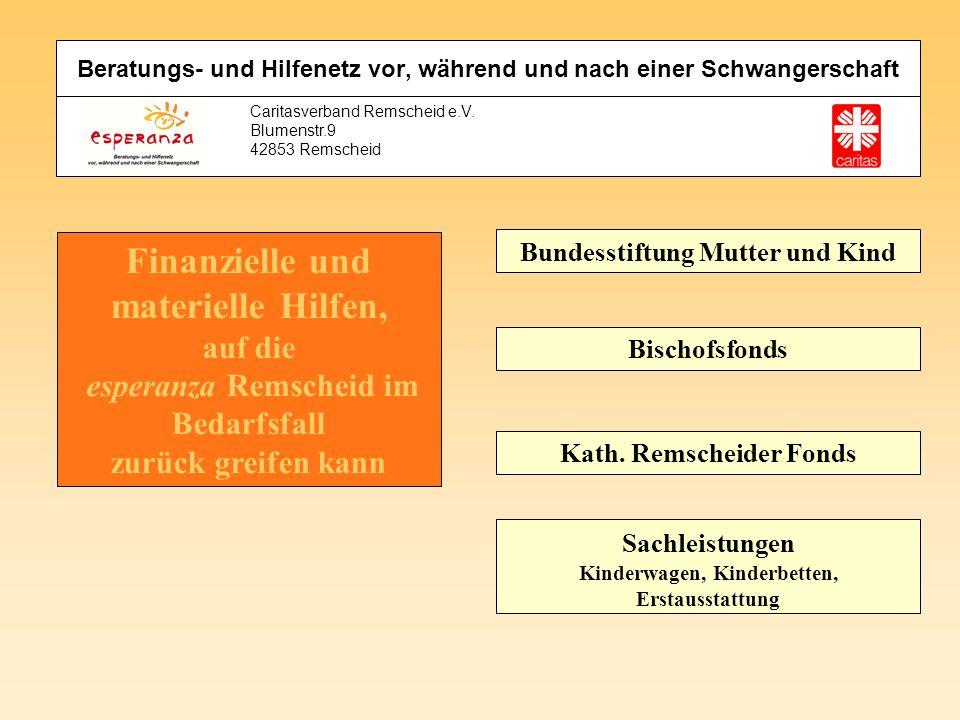 Caritasverband Remscheid e.V. Blumenstr.9 42853 Remscheid Finanzielle und materielle Hilfen, auf die esperanza Remscheid im Bedarfsfall zurück greifen