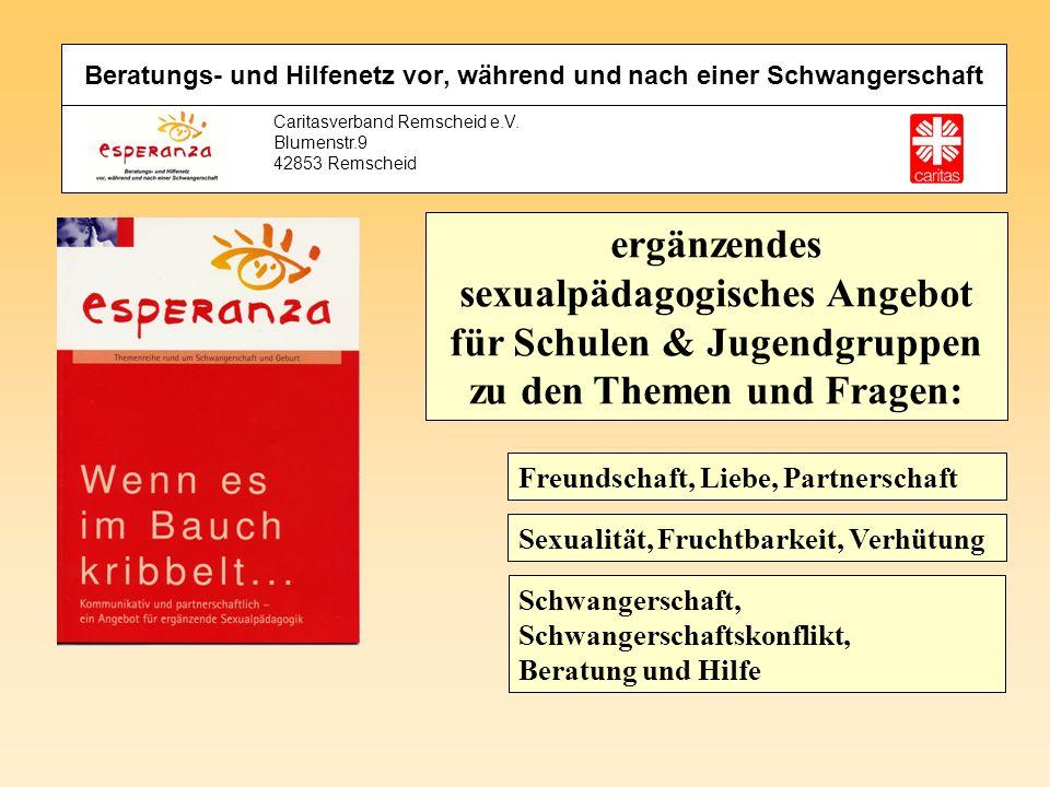 Caritasverband Remscheid e.V. Blumenstr.9 42853 Remscheid ergänzendes sexualpädagogisches Angebot für Schulen & Jugendgruppen zu den Themen und Fragen