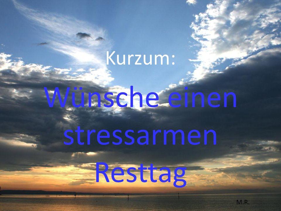 Kurzum: Wünsche einen stressarmen Resttag M.R.