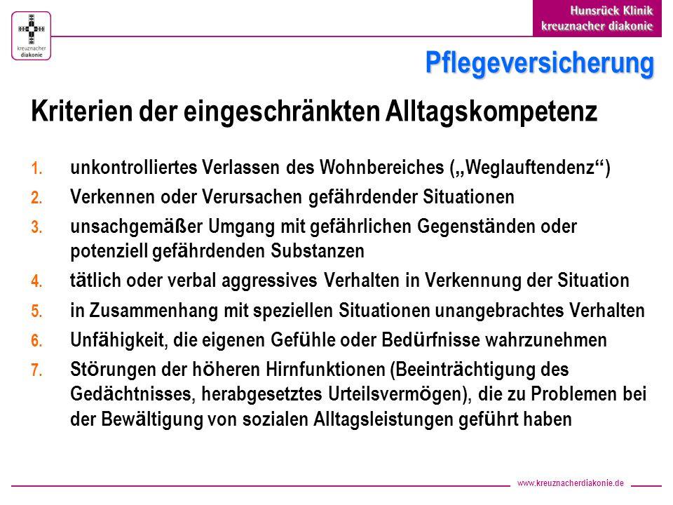 www.kreuznacherdiakonie.de Pflegeversicherung Kriterien der eingeschränkten Alltagskompetenz 1. unkontrolliertes Verlassen des Wohnbereiches ( Weglauf