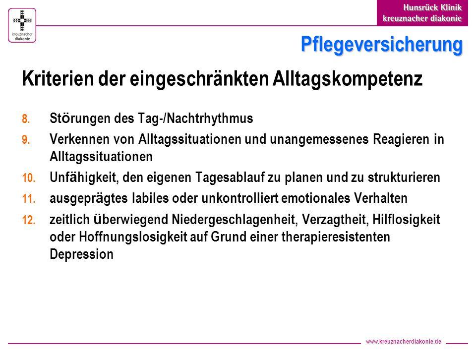 www.kreuznacherdiakonie.de Pflegeversicherung Kriterien der eingeschränkten Alltagskompetenz 8. St ö rungen des Tag-/Nachtrhythmus 9. Verkennen von Al