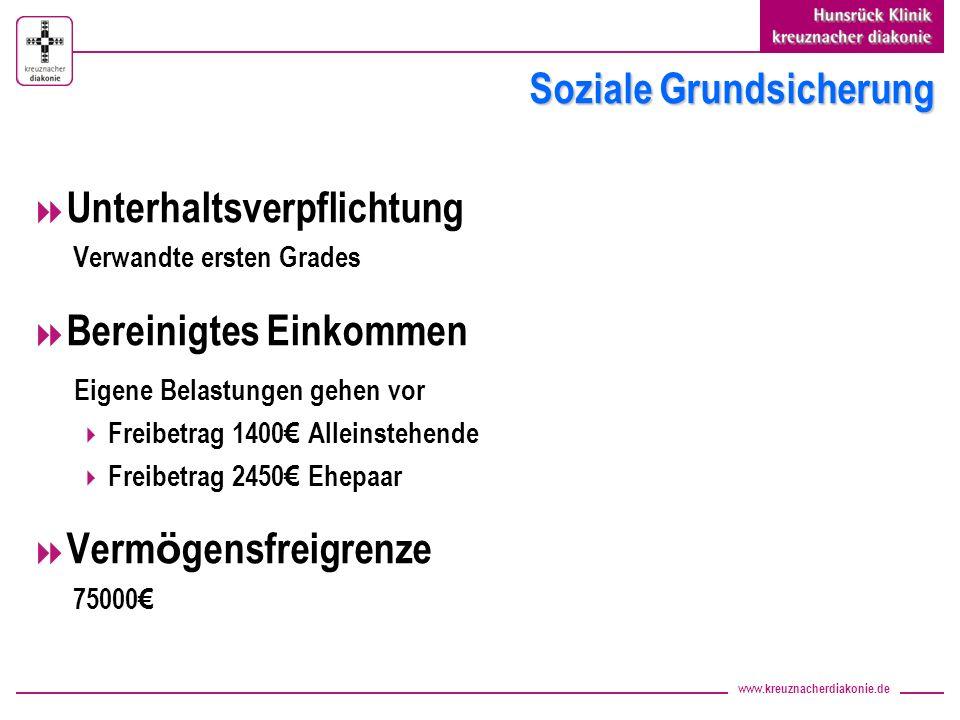 www.kreuznacherdiakonie.de Soziale Grundsicherung Unterhaltsverpflichtung Verwandte ersten Grades Bereinigtes Einkommen Eigene Belastungen gehen vor F