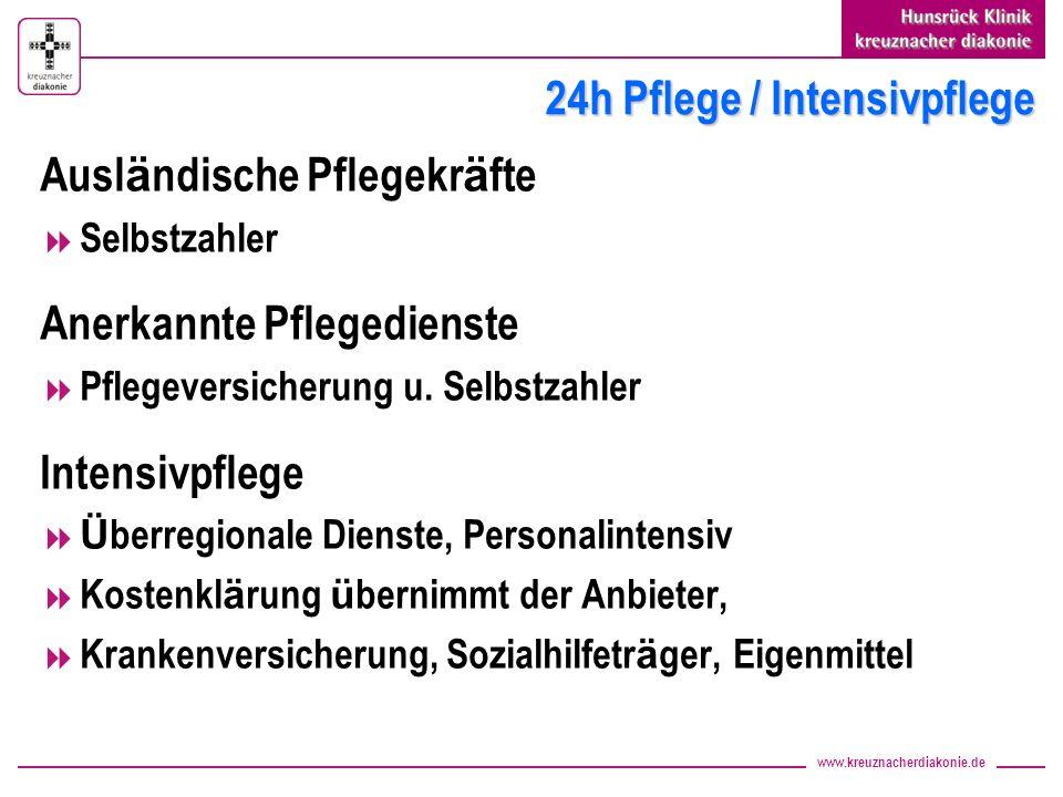 www.kreuznacherdiakonie.de 24h Pflege / Intensivpflege Ausl ä ndische Pflegekr ä fte Selbstzahler Anerkannte Pflegedienste Pflegeversicherung u. Selbs