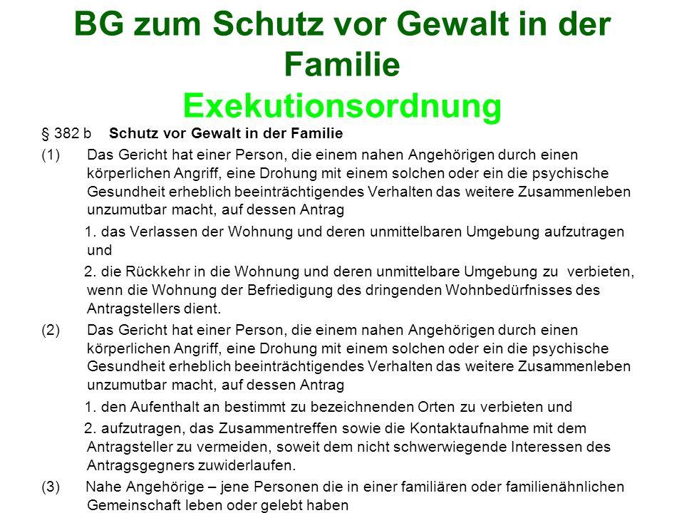 BG zum Schutz vor Gewalt in der Familie Exekutionsordnung § 382 b Schutz vor Gewalt in der Familie (1)Das Gericht hat einer Person, die einem nahen An