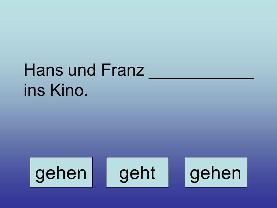 Hans und Franz ___________ ins Kino. gehengehtgehen