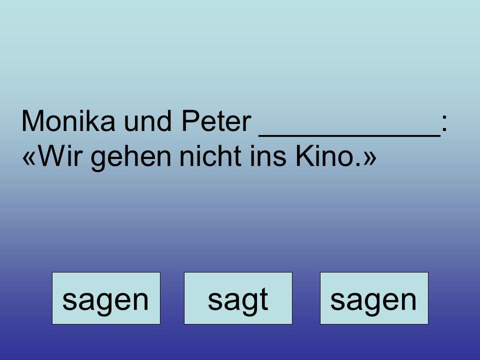 Monika und Peter ___________: «Wir gehen nicht ins Kino.» sagensagtsagen