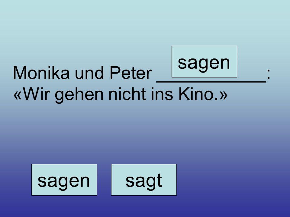 Monika und Peter ___________: «Wir gehen nicht ins Kino.» sagensagt sagen