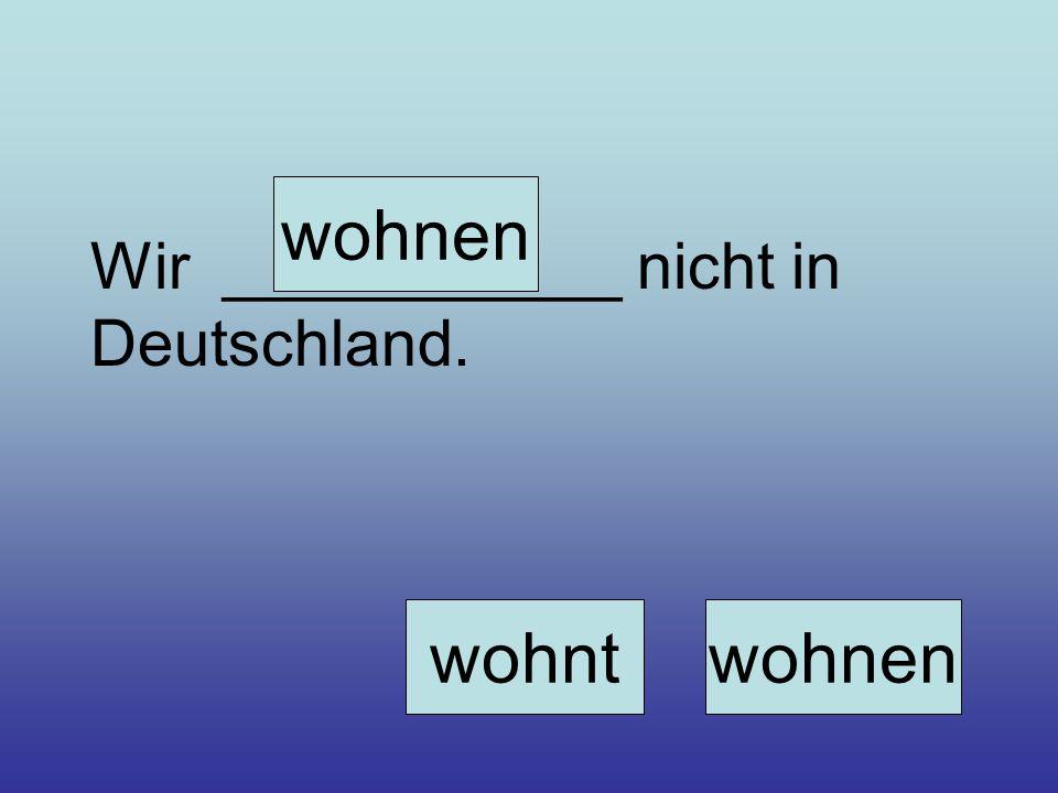 Wir ___________ nicht in Deutschland. wohnen wohntwohnen
