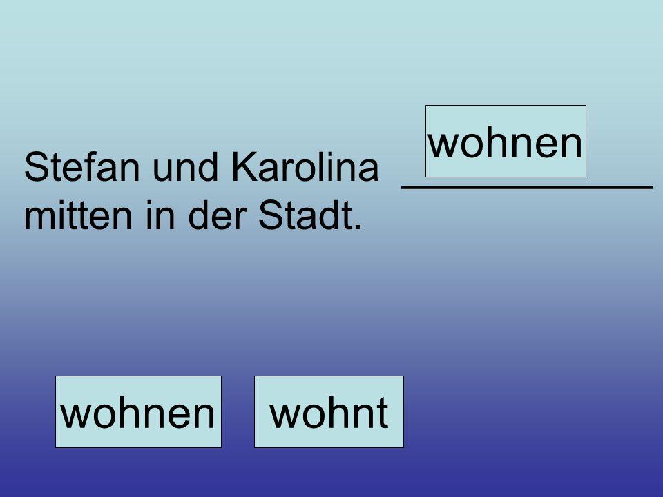 Stefan und Karolina ___________ mitten in der Stadt. wohnenwohnt wohnen