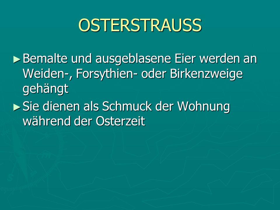 OSTERSTRAUSS Bemalte und ausgeblasene Eier werden an Weiden-, Forsythien- oder Birkenzweige gehängt Bemalte und ausgeblasene Eier werden an Weiden-, F