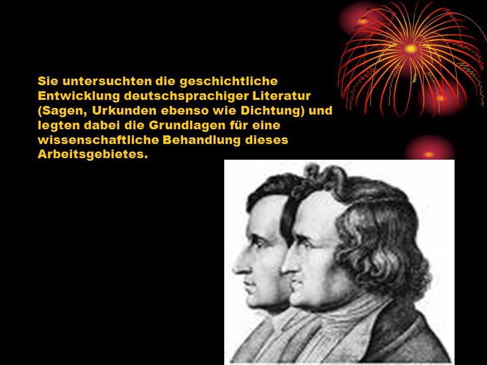 Sie untersuchten die geschichtliche Entwicklung deutschsprachiger Literatur (Sagen, Urkunden ebenso wie Dichtung) und legten dabei die Grundlagen für