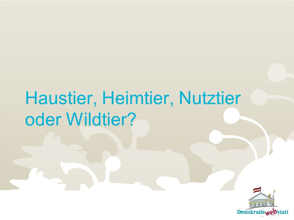 Das österreichische Tierschutzg esetz …unterteilt Tiere in verschiedene Gruppen: Haustiere: Tiere, die beim Menschen leben.