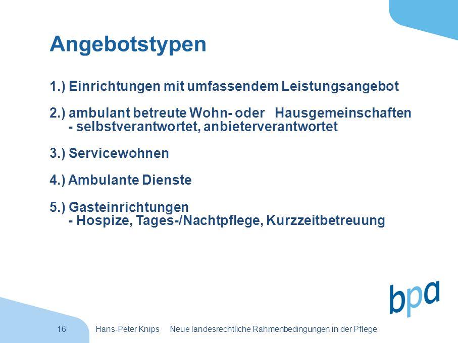 16Hans-Peter Knips Neue landesrechtliche Rahmenbedingungen in der Pflege Angebotstypen 1.) Einrichtungen mit umfassendem Leistungsangebot 2.) ambulant