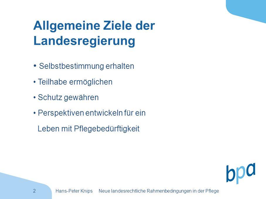 3Hans-Peter Knips Neue landesrechtliche Rahmenbedingungen in der Pflege Was will die Landesregierung.