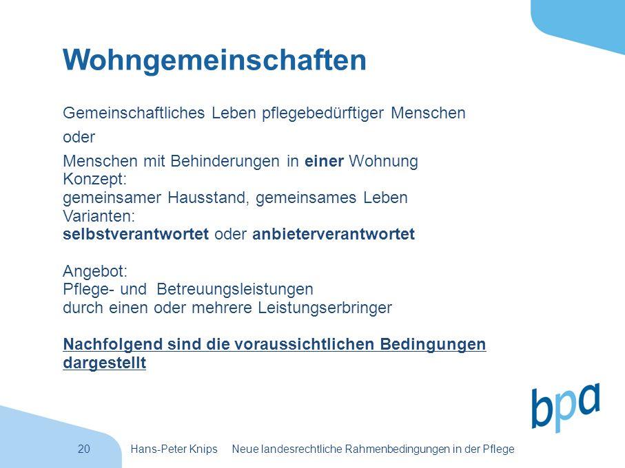 20Hans-Peter Knips Neue landesrechtliche Rahmenbedingungen in der Pflege Wohngemeinschaften Gemeinschaftliches Leben pflegebedürftiger Menschen oder M