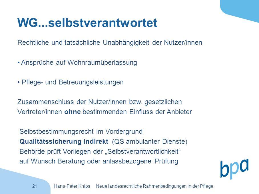 21Hans-Peter Knips Neue landesrechtliche Rahmenbedingungen in der Pflege WG...selbstverantwortet Rechtliche und tatsächliche Unabhängigkeit der Nutzer