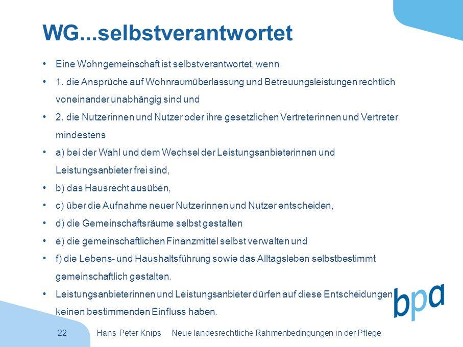 22Hans-Peter Knips Neue landesrechtliche Rahmenbedingungen in der Pflege WG...selbstverantwortet Eine Wohngemeinschaft ist selbstverantwortet, wenn 1.