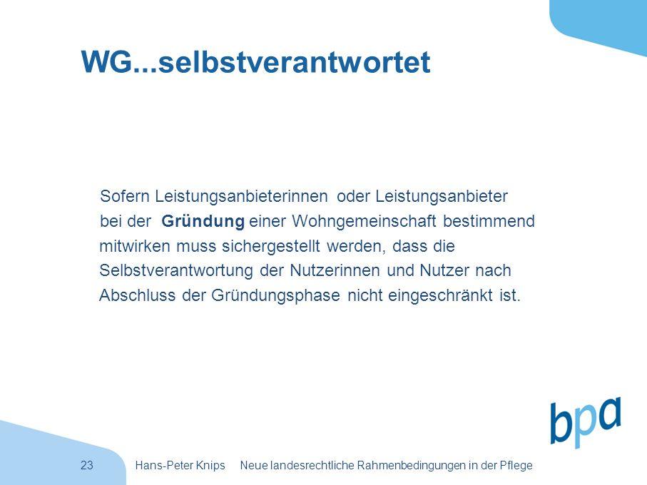 23Hans-Peter Knips Neue landesrechtliche Rahmenbedingungen in der Pflege WG...selbstverantwortet Sofern Leistungsanbieterinnen oder Leistungsanbieter