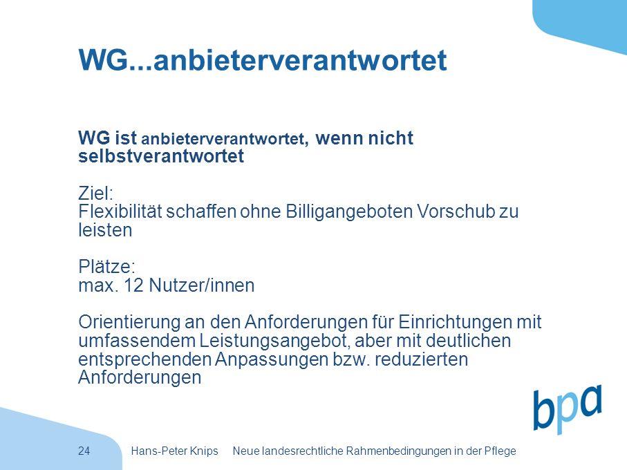 24Hans-Peter Knips Neue landesrechtliche Rahmenbedingungen in der Pflege WG...anbieterverantwortet WG ist anbieterverantwortet, wenn nicht selbstveran
