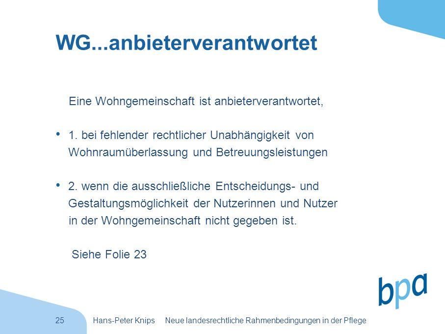 25Hans-Peter Knips Neue landesrechtliche Rahmenbedingungen in der Pflege WG...anbieterverantwortet Eine Wohngemeinschaft ist anbieterverantwortet, 1.